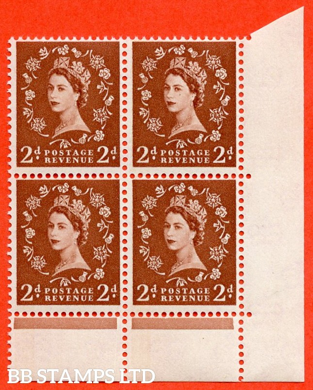 "SG. 613. S45. 2d light red brown. "" 1 BAND -- BLUE PHOSPHOR "". A very fine UNMOUNTED MINT bottom right hand corner marginal block of 4."