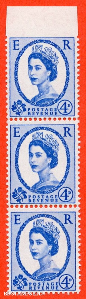 """SG. 576a.  S85 c. 4d dark ultramarine. A super UNMOUNTED MINT vertical strip of 3 with the listed """" IMPERF BETWEEN STAMP AND TOP MARGIN """" error."""
