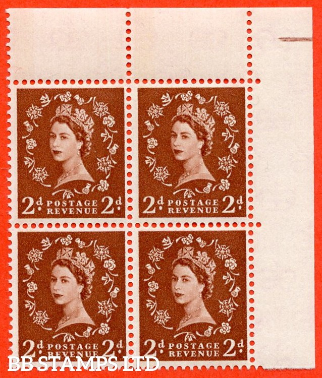 "SG. 613. S45. 2d light red brown. "" 1 BAND -- BLUE PHOSPHOR "". A very fine UNMOUNTED MINT top right hand corner marginal block of 4."
