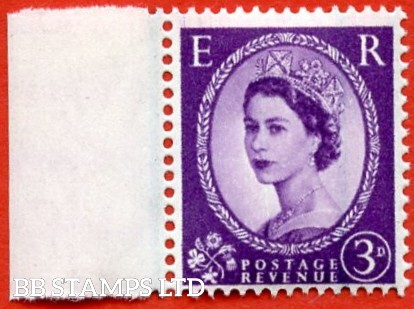 "SG. 592 a. 3d Deep - lilac. "" Misplaced Graphite lines "". A super UNMOUNTED MINT left hand marginal example of this scarce QEII variety."