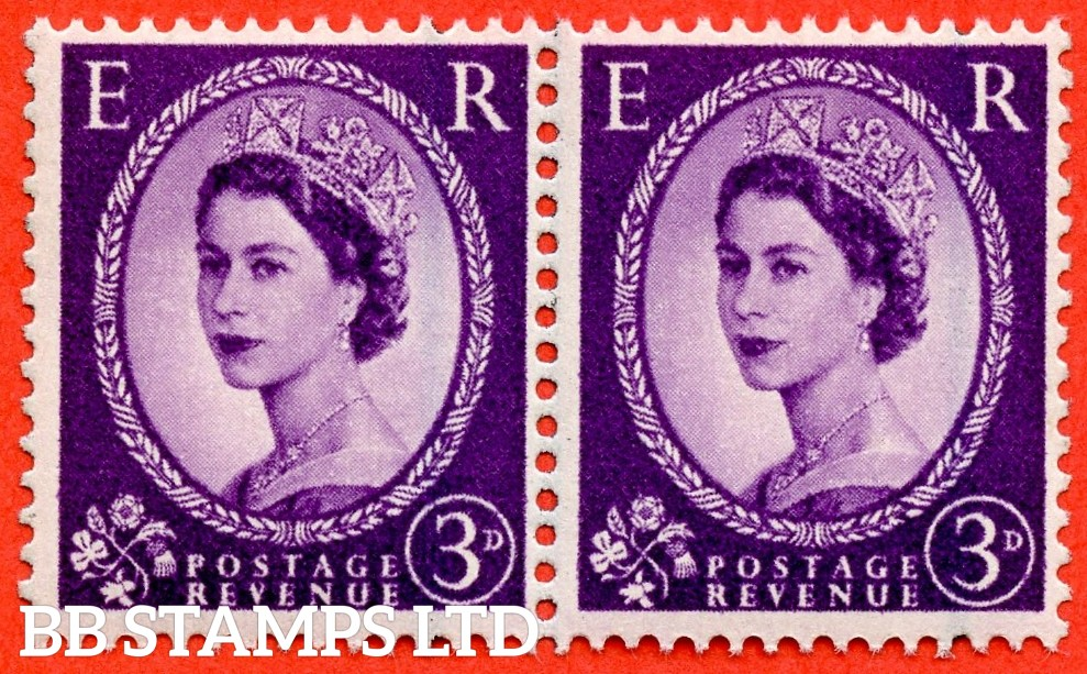 "SG. 592 c. 3d Deep - lilac. "" Misplaced Graphite lines "". A super UNMOUNTED MINT horizontal pair."