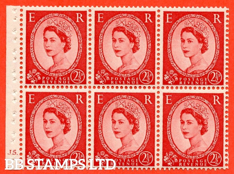"SG. 519 b. SB80. 2½d carmine - red. A fine UNMOUNTED MINT cylinder "" J5 dot "" booklet pane of 6. Perf type (I)."