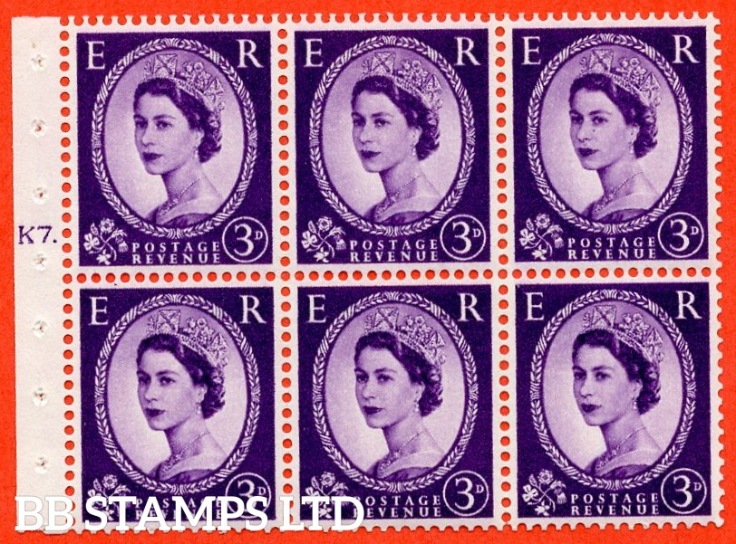 "SG. 545. S68. SB90. 3d Deep Lilac. A superb UNMOUNTED MINT complete Cylinder "" K7 dot "" booklet pane with perf type "" I ""."