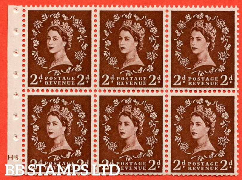 "SG. 518. SB76. 2d red - brown. A fine UNMOUNTED MINT cylinder "" H1 dot "" booklet pane of 6. Perf type (I)."