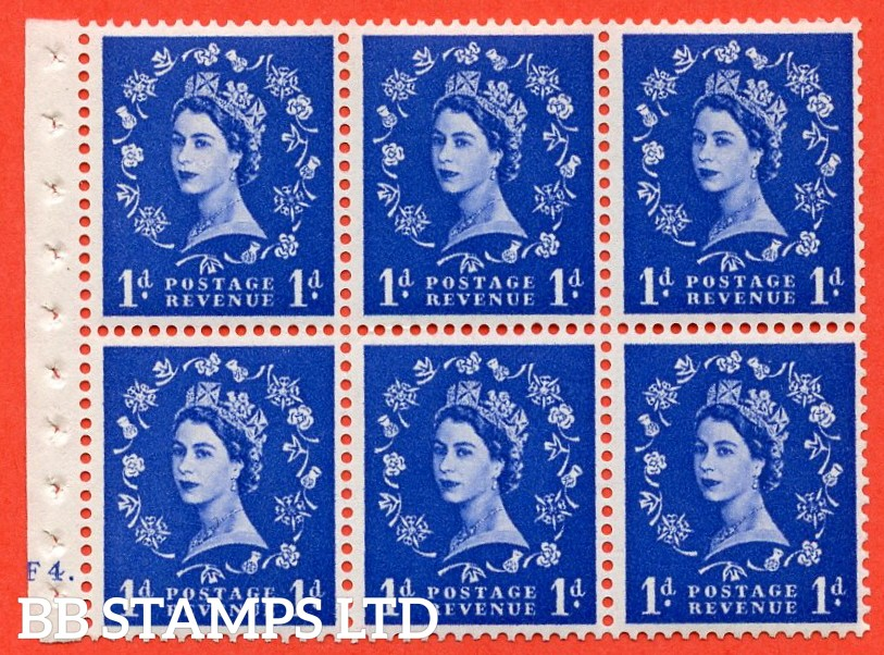 "SG. 516. SB20. 1d ultramarine. A fine UNMOUNTED MINT cylinder "" F4 dot "" booklet pane of 6. Perf type (I)."