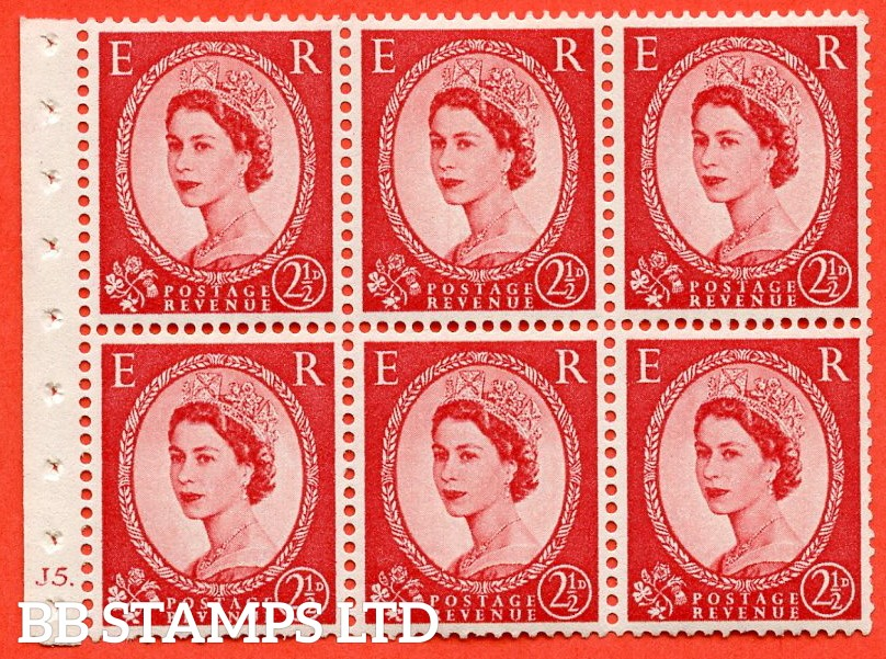 "SG. 544 b. SB81. 2½d carmine - red. A fine UNMOUNTED MINT cylinder "" J5 dot "" booklet pane of 6. Perf type (I)."