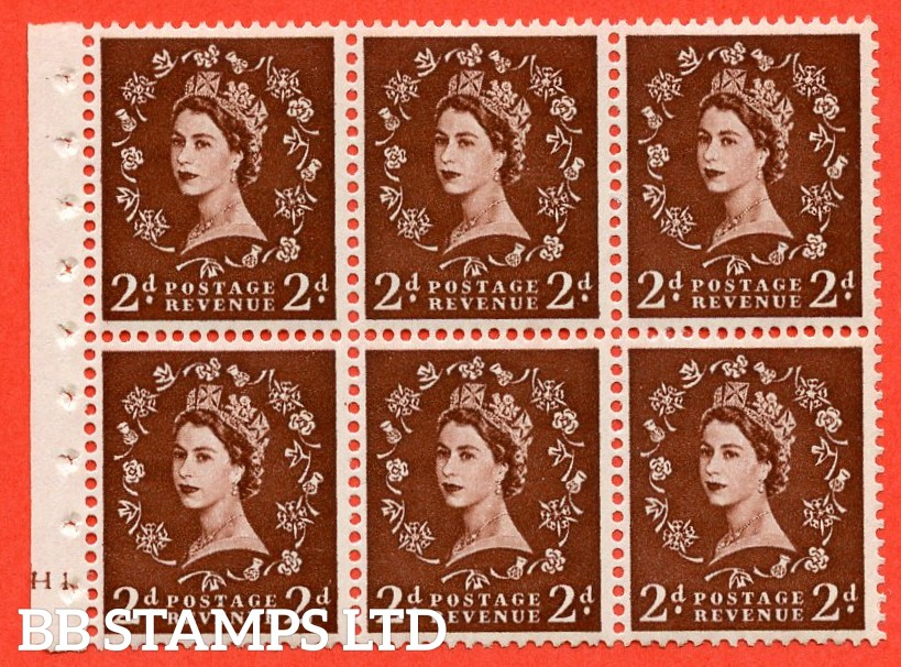"SG. 543. SB77. 2d red - brown. A fine UNMOUNTED MINT cylinder "" H1 dot "" booklet pane of 6. Perf type (I)."