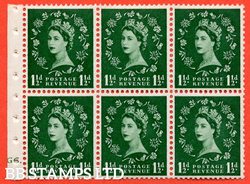 "SG. 542. SB62. 1½d green. A fine UNMOUNTED MINT cylinder "" G6 dot "" booklet pane of 6. Perf type (I)."