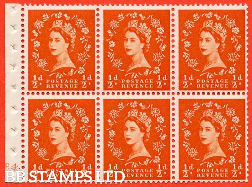 "SG. 515. SB1. ½d orange - red. A fine UNMOUNTED MINT cylinder "" E4 no dot "" booklet pane of 6. Perf type (I)."