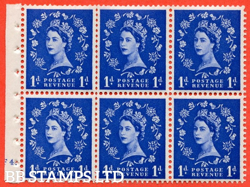 "SG. 541. SB26. 1d ultramarine. A fine UNMOUNTED MINT cylinder "" F4 dot "" booklet pane of 6. Perf type (I)."