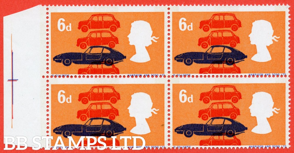 SG. 702 p variety. 1966 British Technology. 6d. A super UNMOUNTED MINT left hand marginal block of 4 with the PHOSPHOR PRINTED BOTH SIDES ERROR.