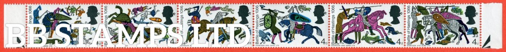 """SG. 705 aj. 1966 Hastings. A complete UNMOUNTED MINT horizontal strip of 6 with the listed ERROR """" MISSING GREY """"."""