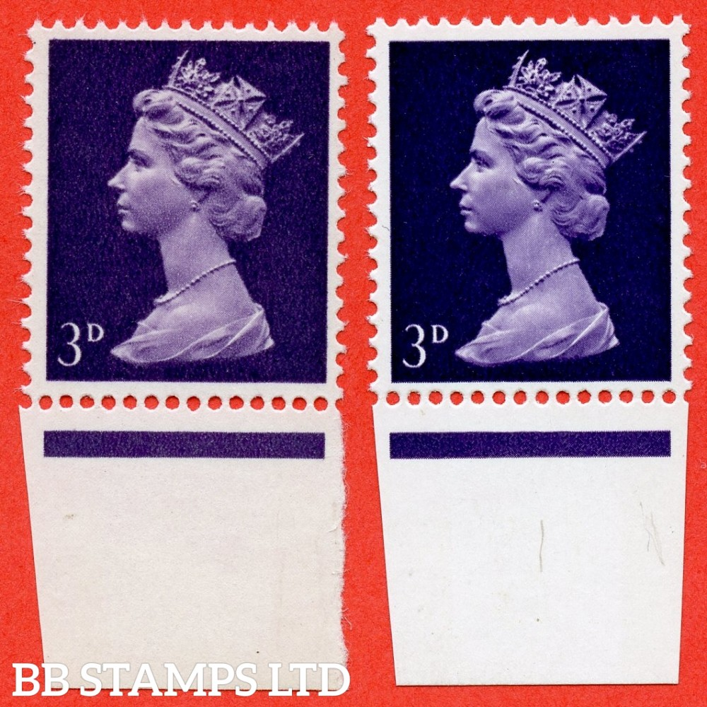 SG. 730 a. U10a. 3d Violet ( 2 Bands ). UNCOATED PAPER. A SUPERB UNMOUNTED MINT lbottom marginal example of this RARE QEII ERROR. Only 6 examples recorded. Complete with RPS certificate and a GREAT RARITY. With normal for comparison.