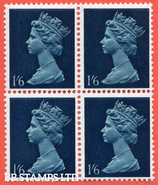 SG. 743 Ey. 1/6. greenish blue & deep blue. MISSING PHOSPHOR. A fine UNMOUNTED MINT block of 4.