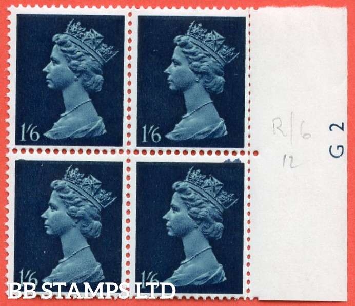 SG. 743 Ey. 1/6. greenish blue & deep blue. MISSING PHOSPHOR. A fine UNMOUNTED MINT right hand marginal block of 4.