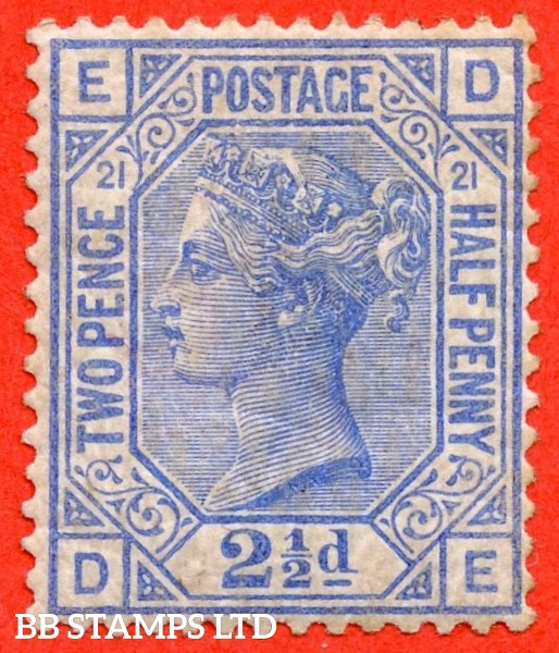 "SG. 157. J23. "" DE "". 2½d blue. Plate 21. A fine mounted mint example."