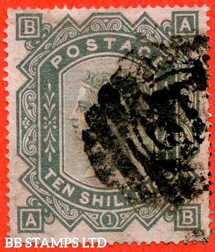 """SG. 128. J124. """" AB """". 10/- Greenish grey. A good used example of this popular early Victorian high value."""