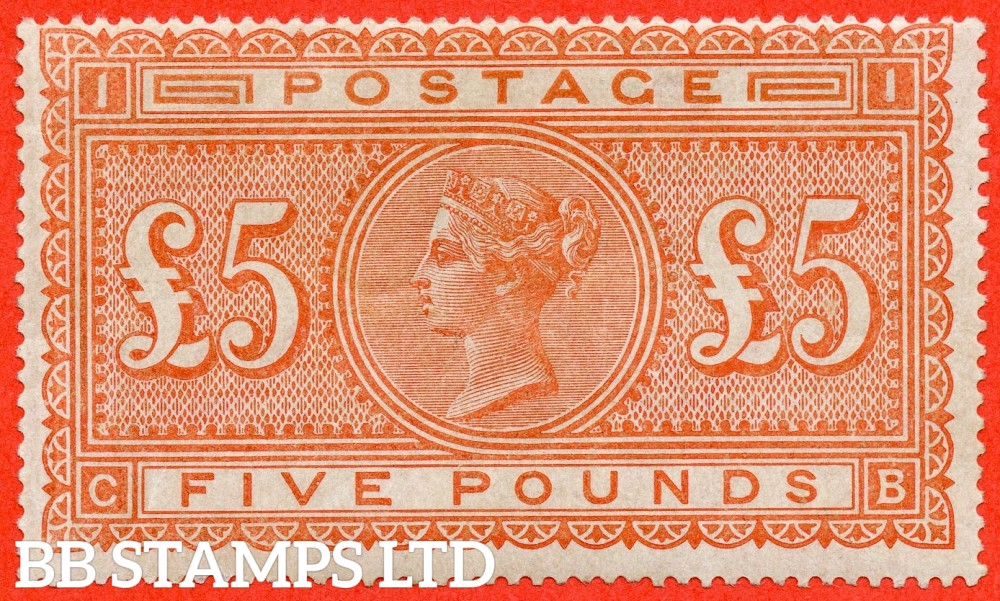 """SG. 137. J128a. """" CB """". £5.00 Orange. A fine UNMOUNTED MINT example of this scarce and popular stamp."""
