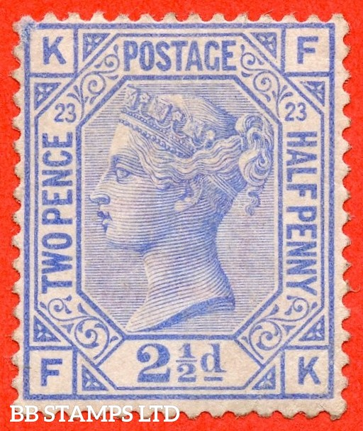 """SG. 157. J25. """" FK """". 2½d blue. Plate 23. A super lightly mounted mint example."""