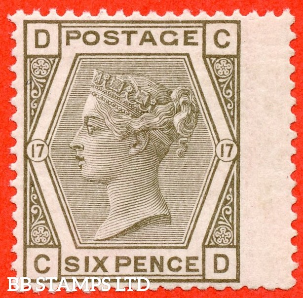 """SG. 147. J87. """" CD """" 6d Grey plate 17. A very fine UNMOUNTED MINT example."""
