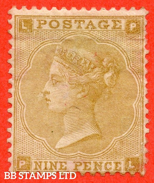 "SG. 87. J92 (2). "" PL "". 9d Straw plate 2. A decent average mint example of this scarce mint Victorian issue."