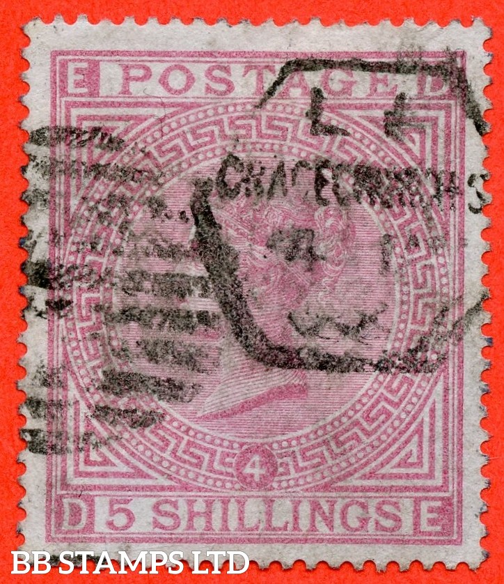 """SG. 130. J123. """" DE """" 5/- Rose. """" blued paper """". A good used example of this RARE mint Victorian issue."""