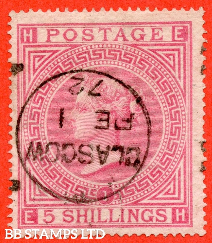 """SG. 126. J121 (1). """" EH """". 5/- Rose. Plate 1. A fine """" 1st February 1872 GLASGOW """" CDS used example of this early Victorian high value."""