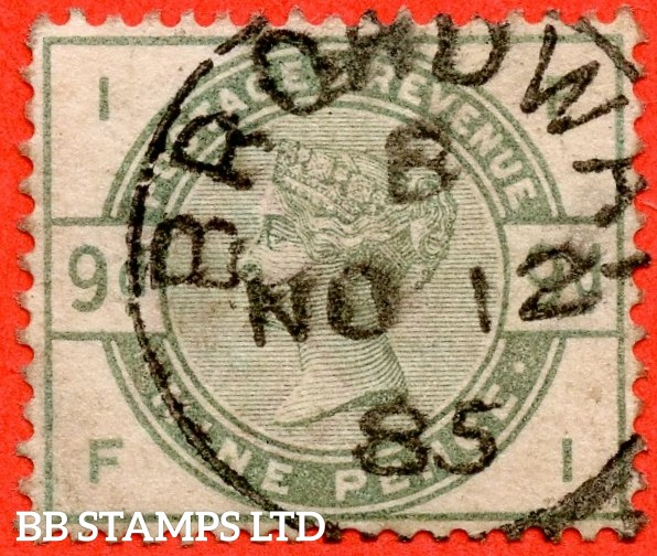 "SG. 195. K25. "" FI "". 9d Dull green. A superb "" 12th November 1885 BROADWAY "" CDS used example."