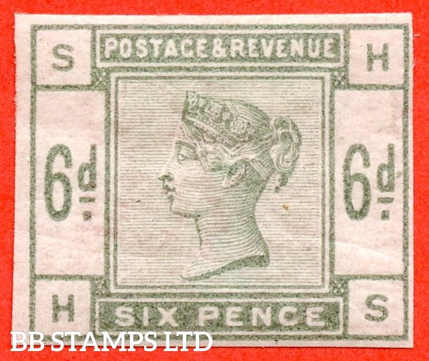 "SG. 194. K24. "" HS "" 6d Dull green. IMPRIMATUR. A fine mounted mint example."