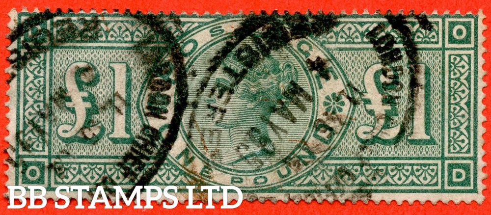 """SG. 212. K17. £1.00 Green """" OD """". A Good used example."""