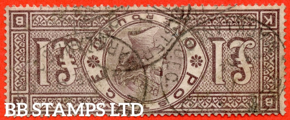 "SG. 185 wi. K15 b. "" KB "". £1.00 Brown - Lilac. INVERTED WATERMARK. A good - fine used example of this VERY RARE Victorian variety. One of only 3 known examples and complete with BPA certificate."