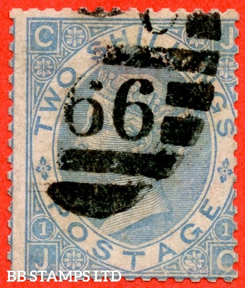"""SG. 120b. J118 (5). """" JG """". 2/- milky blue. Plate 1. A good - fine used example complete with RPS certificate."""