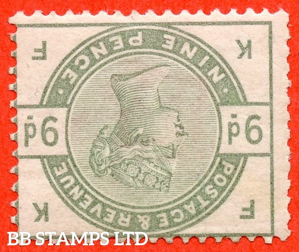 """SG. 195 wi. K25 b. """" KF """". 9d Dull green. INVERTED WATERMARK. A fine lightly mounted mint example."""