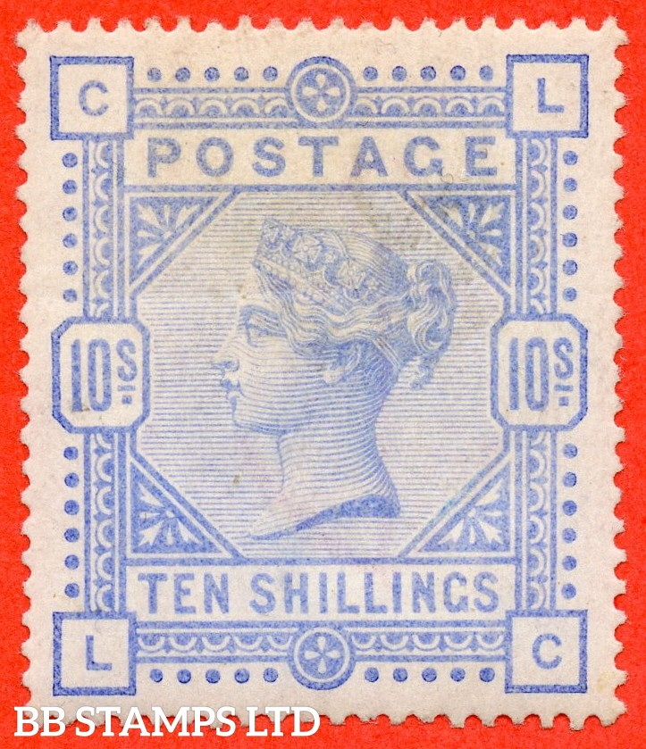"""SG. 183a. K14 (3). """" LC """". 10/- Pale ultramarine.  An average mounted mint example of this more difficult shade."""