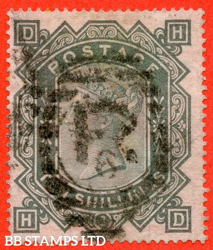 """SG. 128. J124. """" HD """". 10/- Greenish grey. A good - fine used example of this popular early Victorian high value."""