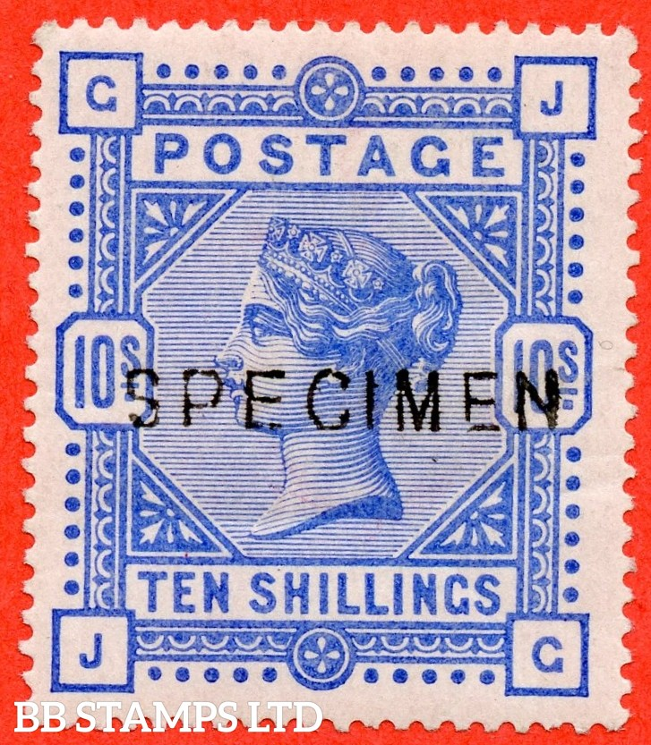 """SG. 183 s. K14 (2) s. """" JG """". 10/- ultramarine ( DEEP SHADE ). A fine UNMOUNTED MINT example of this very popular Victorian high value overprinted SPECIMEN type 11."""