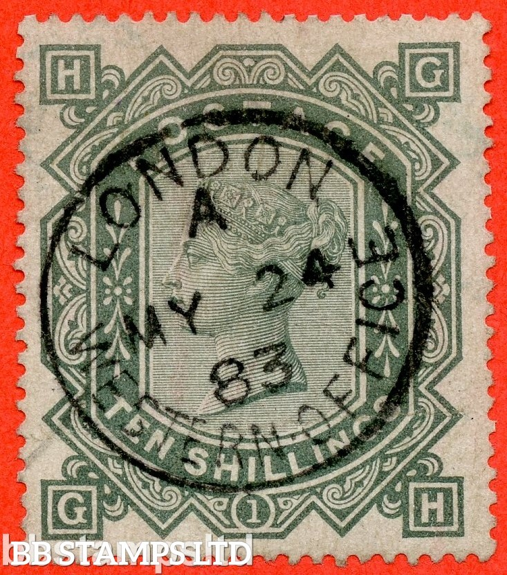 """SG. 135. J125 a. """" GH """". 10/- greenish grey. A superb """" 24th May 1883 LONDON """" CDS used example complete with RPS certificate."""