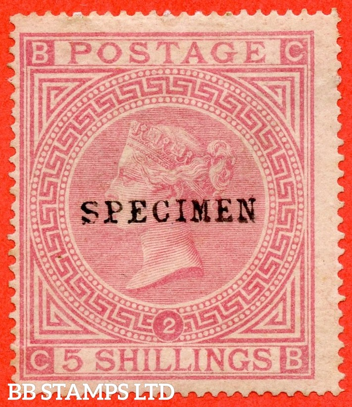 """SG. 127 s. J122 a. """" CB """". 5/- Pale rose. Plate 2. A decent mounted mint example overprinted SPECIMEN type 9."""