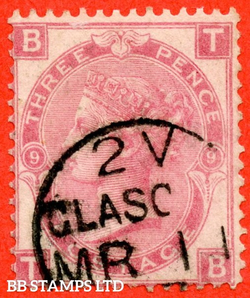 """SG. 103. J34. """" TB """" 3d Rose plate 9. A fine """" 11th March GLASGOW """" CDS used example."""