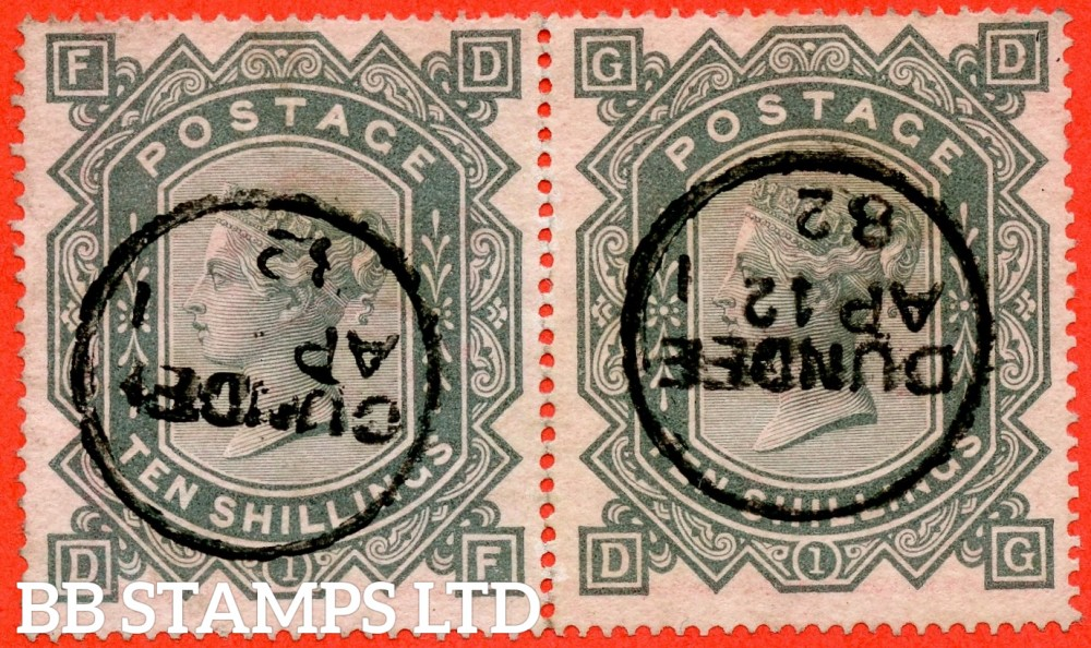 """SG. 128. J124. """" EF EG """". 10/- greenish grey. A very fine """" 12th April 1882 DUNDEE """" CDS used horizontal rejoined pair complete with RPS certificate."""