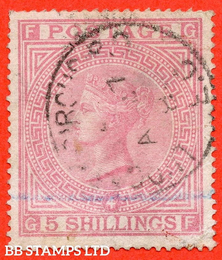 "SG. 134. J123 a. "" GF "" 5/- Rose. Plate 4. A used example with minor faults and complete with RPS certificate.."