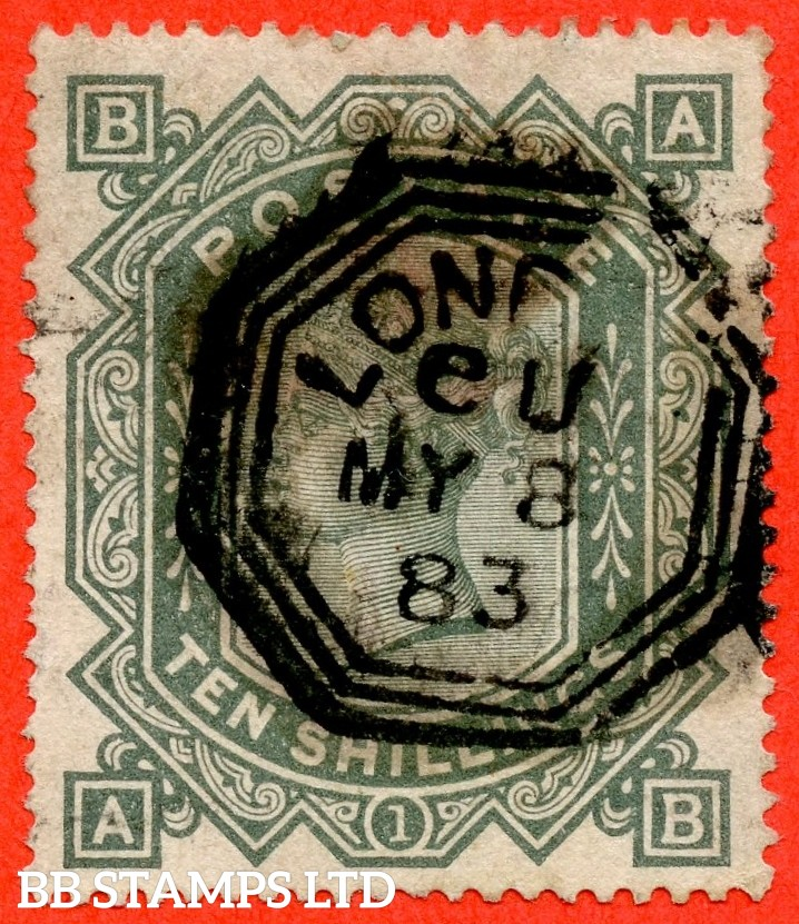 "SG. 135. "" AB "". 10/- greenish grey. A good used example of this popular Victorian high value."