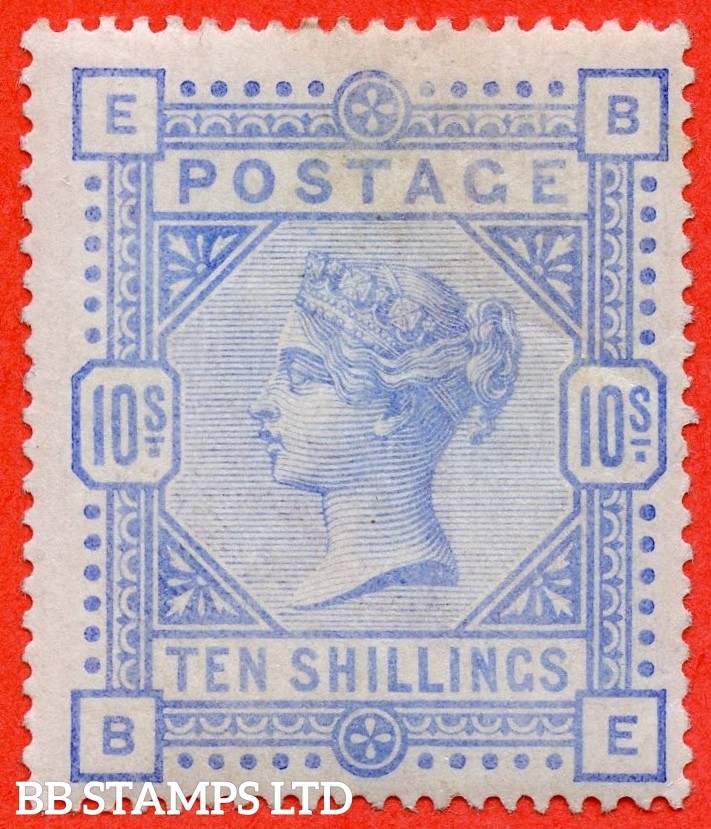 """SG. 183a. K14 (3). """" BE """". 10/- Pale ultramarine.  A fine mounted mint example of this more difficult shade."""