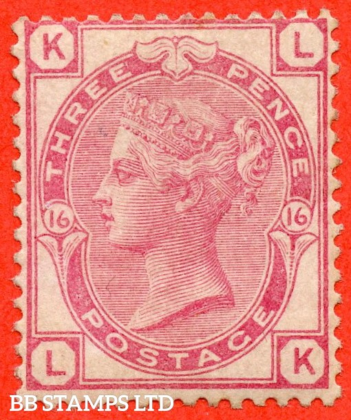 "SG. 144. J40. "" LK "". 3d pale rose plate 16. A very fine UNMOUNTED MINT example."