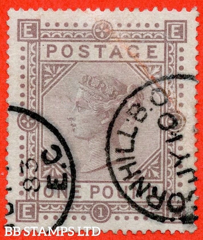 """SG. 136. J127 a. """" EE """". £1.00 Brown - lilac. A fine """" 10th July 1883 CORNHILL B.O. """" CDS used example of this scarce early Victorian high value."""