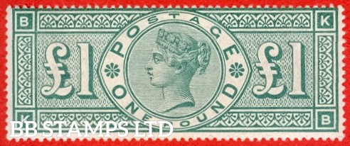 "SG. 212. £1.00 Green "" KB "". A Super UNMOUNTED MINT example of this popular stamp. Excellent colour and perfs, becoming very difficult to find in this grade."