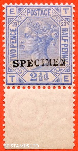 "SG. 157 s. J25 s. "" TE "". 2½d blue. Plate 23. A super UNMOUNTED MINT bottom marginal example overprinted "" SPECIMEN "" type 9."