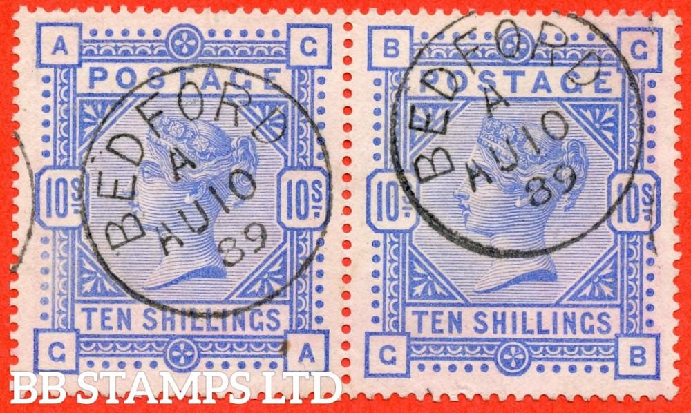 "SG. 183. K14 (2). "" GA GB "". 10/- ultramarine. A very fine "" 10th August 1889 BEDFORD "" CDS used horizontal pair."