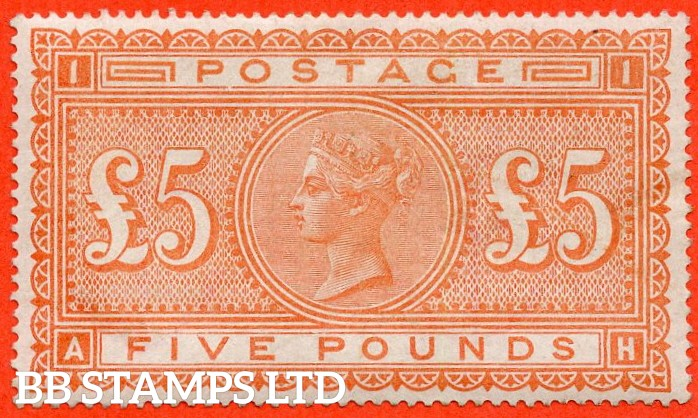 "SG. 137. J128a. "" AH "". £5.00 Orange. A very fine mounted mint mounted mint example complete with RPS certificate."