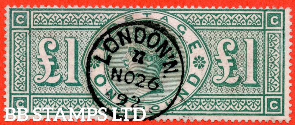 "SG. 212. K17. £1.00 Green "" CC "". A superb "" 26th November 1892 LONDON "" CDS used example."